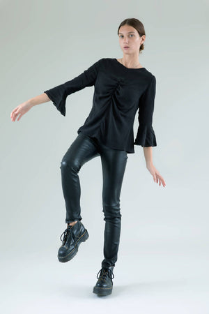 Black Skinny Livy Leather Trousers