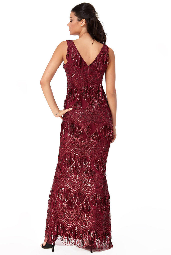 SEQUIN AND LACE MAXI DRESS
