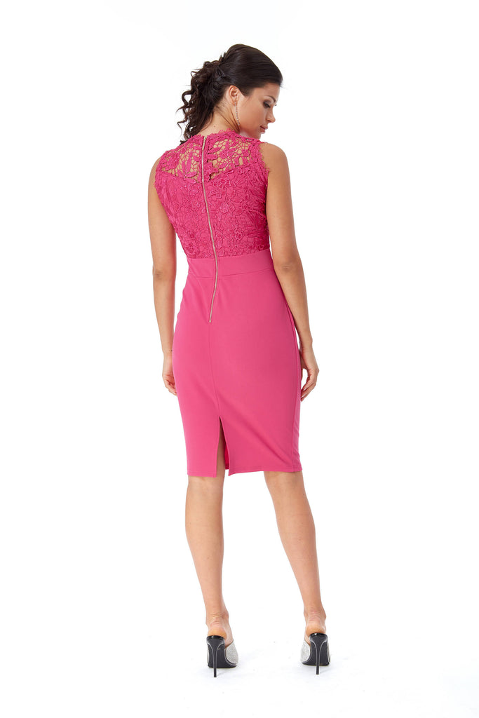 CROCHET MIDI DRESS IN PINK