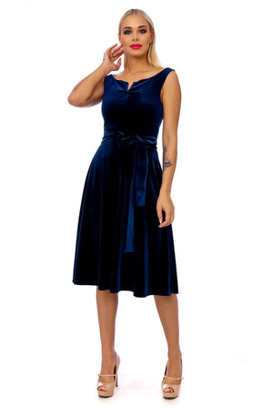 Navy Plain Velvet Tie Detail Midi Dress