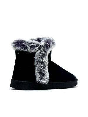 LBO-6718 LY-16A-1A FUR ANKLE BOOT - BLACK - PACK OF 12 - SIZE 3 TO 8