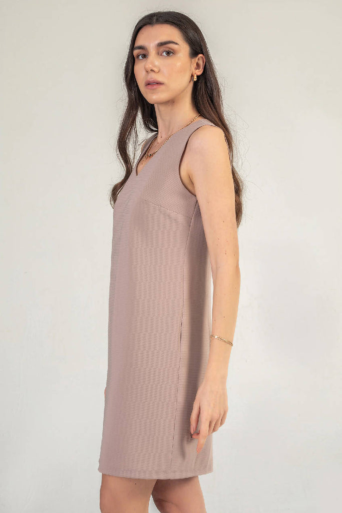 Sleeveless Shift Dress In Rose Gold