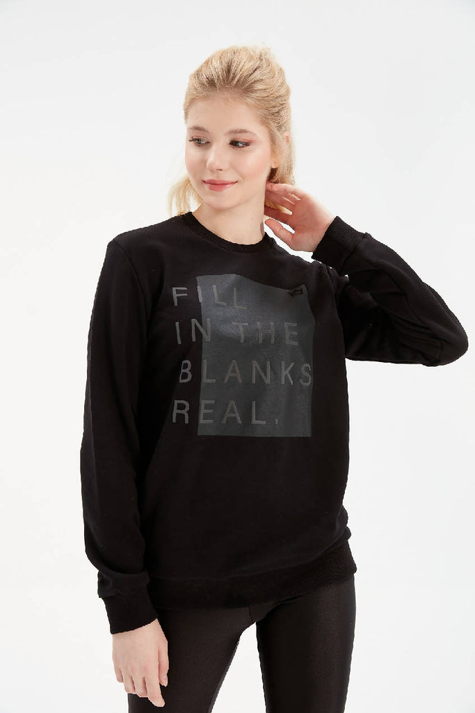 Women Black Writing Detailed Oversize Sweatshirt