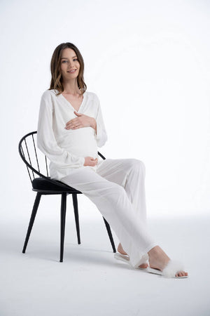Women Ivory Maternity Functional Pyjama Set