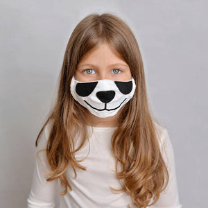Kids Panda Face Mask with Filter Pockets - Machine Washable, 100% Cotton