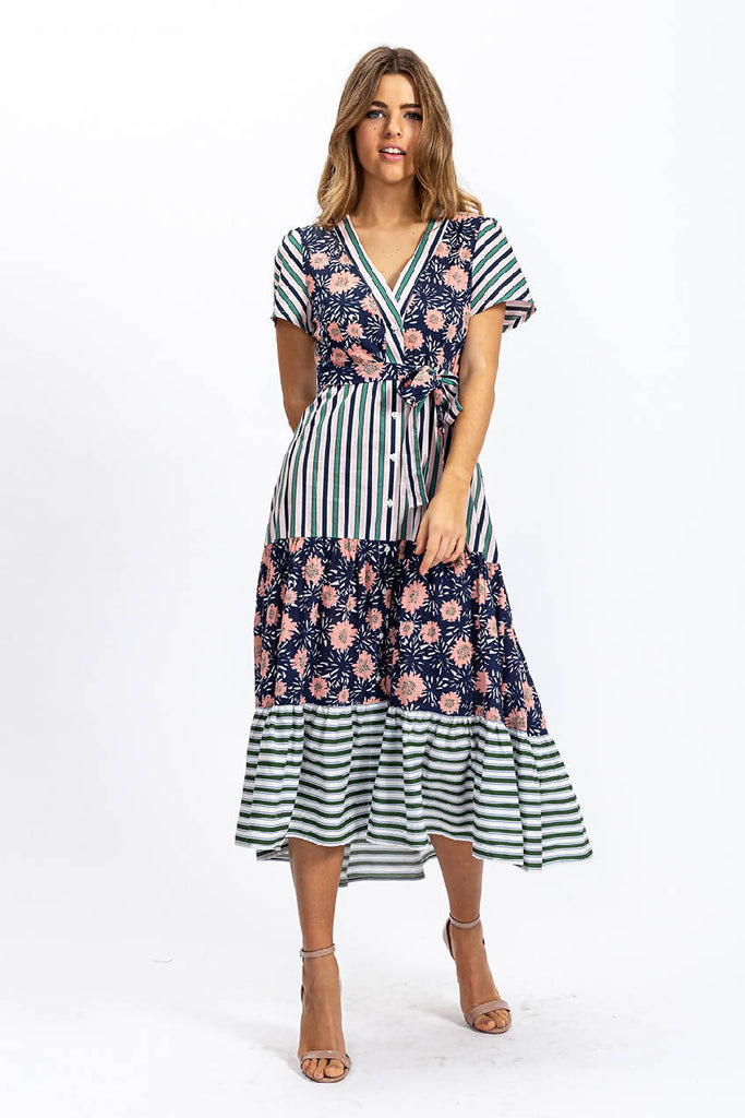 Stripes and Floral Print Midi Frill Dress