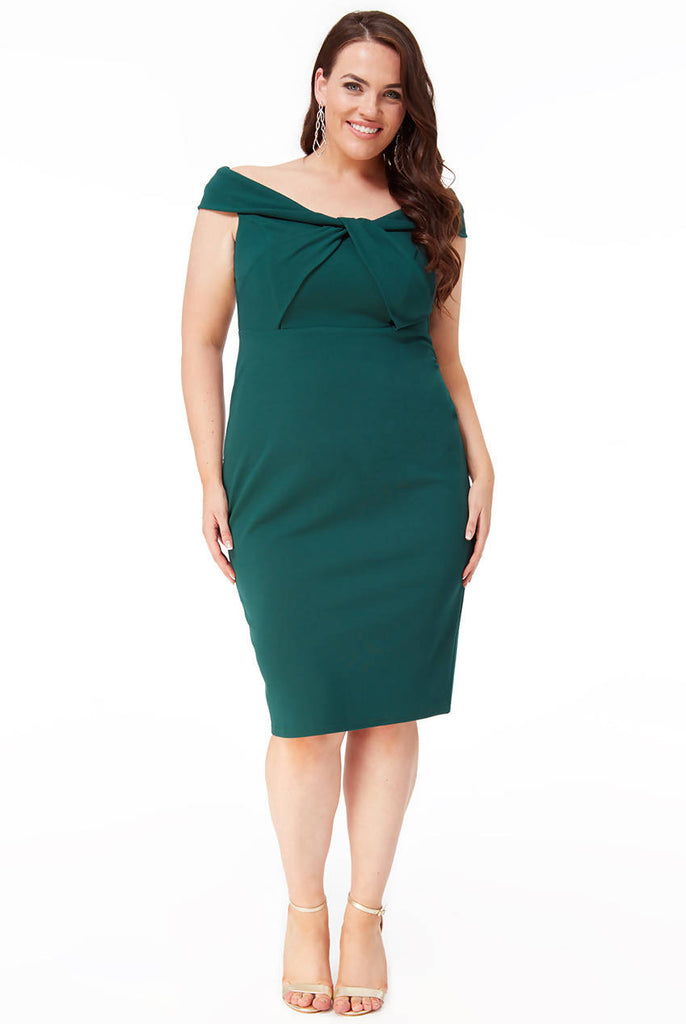 PLUS SIZE FRONT TWIST BARDOT MIDI DRESS