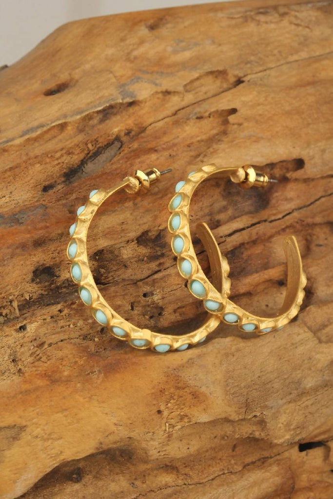Brass Hoop Earring with stones decoration