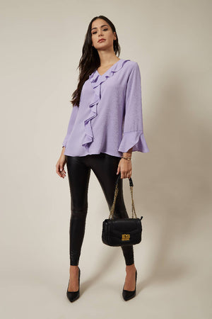 Oversized Top with Frilled Front in Lilac