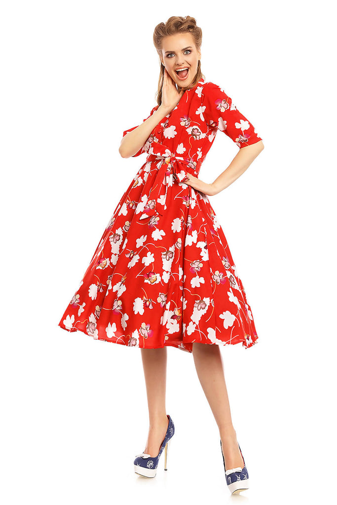 Looking Glam Retro Vintage 1940's Shirt Dress in Floral Print Red