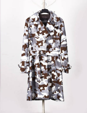 Camouflage Grey Waterproof Trench Coat
