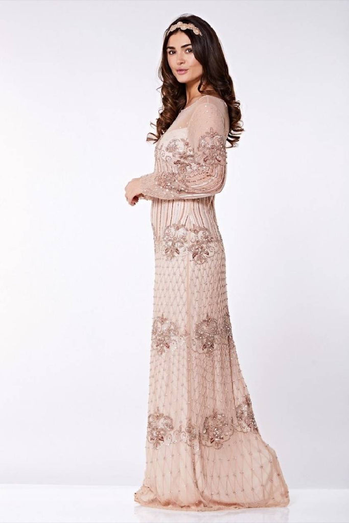 Dolores Vintage Inspired Maxi Prom Dress in Champagne
