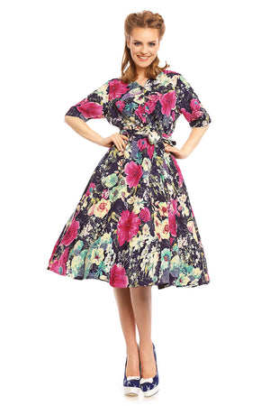 Looking Glam Retro Vintage 1940's Shirt Dress in Floral Print in Navy