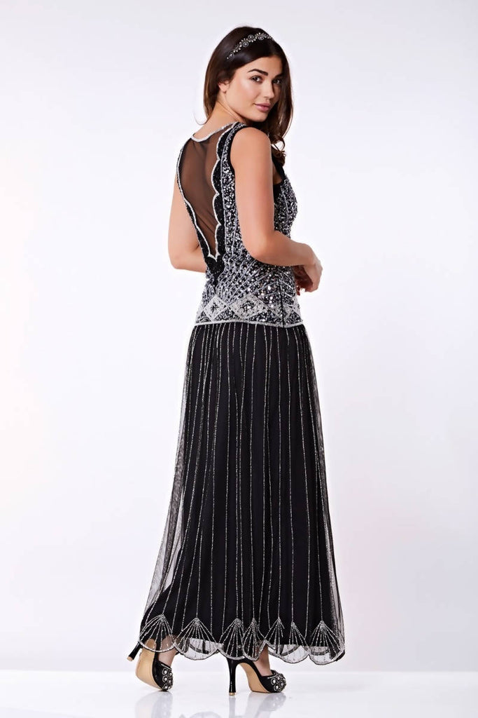 Elaina Drop Waist Flapper Maxi Dress - Hand Embellished
