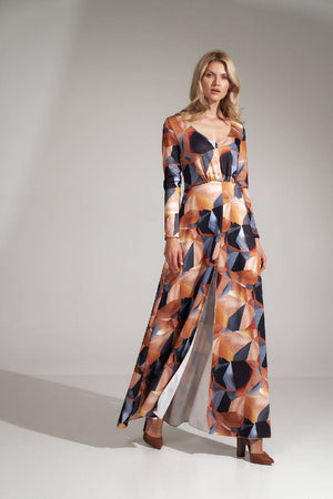 Long flared dress in a geometric pattern