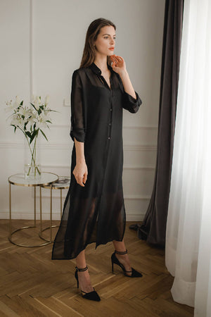 Black Long Shirt Dress