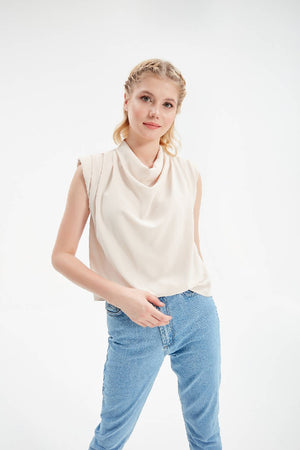 Women Ivory Cowl Neck Flowy Short Sleeve Blouse with Padding