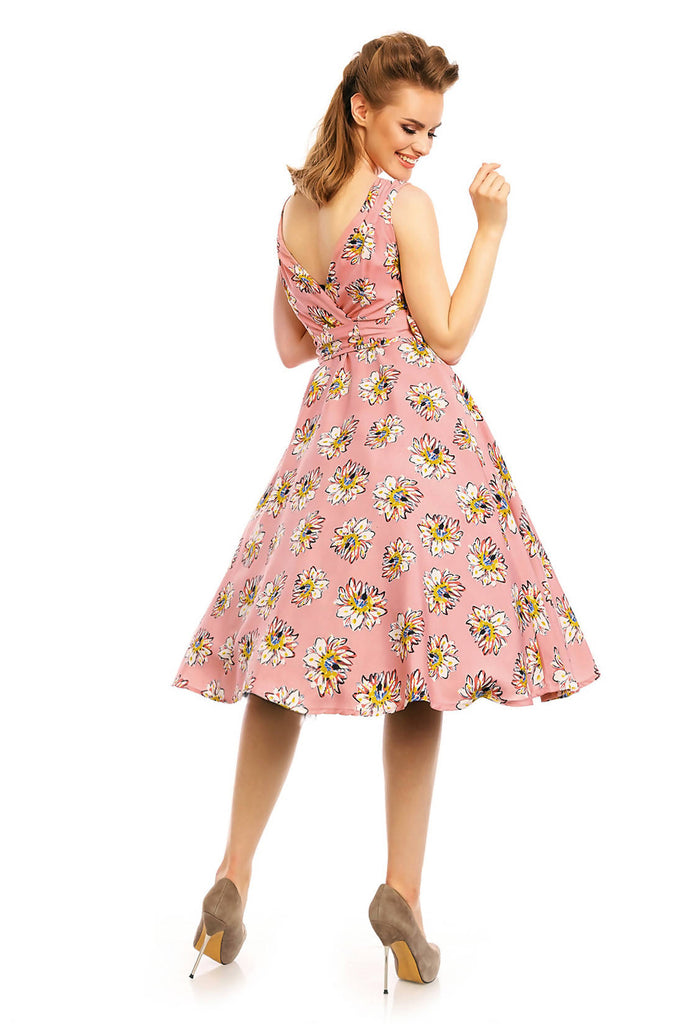 Ladies 1950's Mid Tie Retro Vintage Pin Up Rockabilly Prom Swing Rose Floral Dress