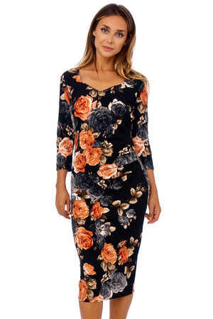 Flower Print Side Pleat Bodycon Dress