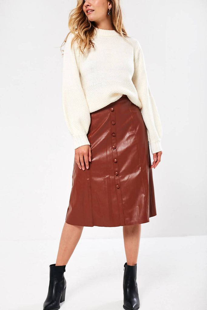 A-Line Leather Midi Skirt