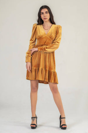 Mustard Velvet Mini Dress With Puff Sleeve