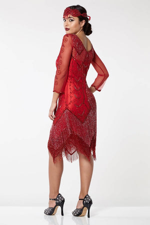 Scarlet Vintage Inspired Fringe Flapper Dress - Hand Embellished