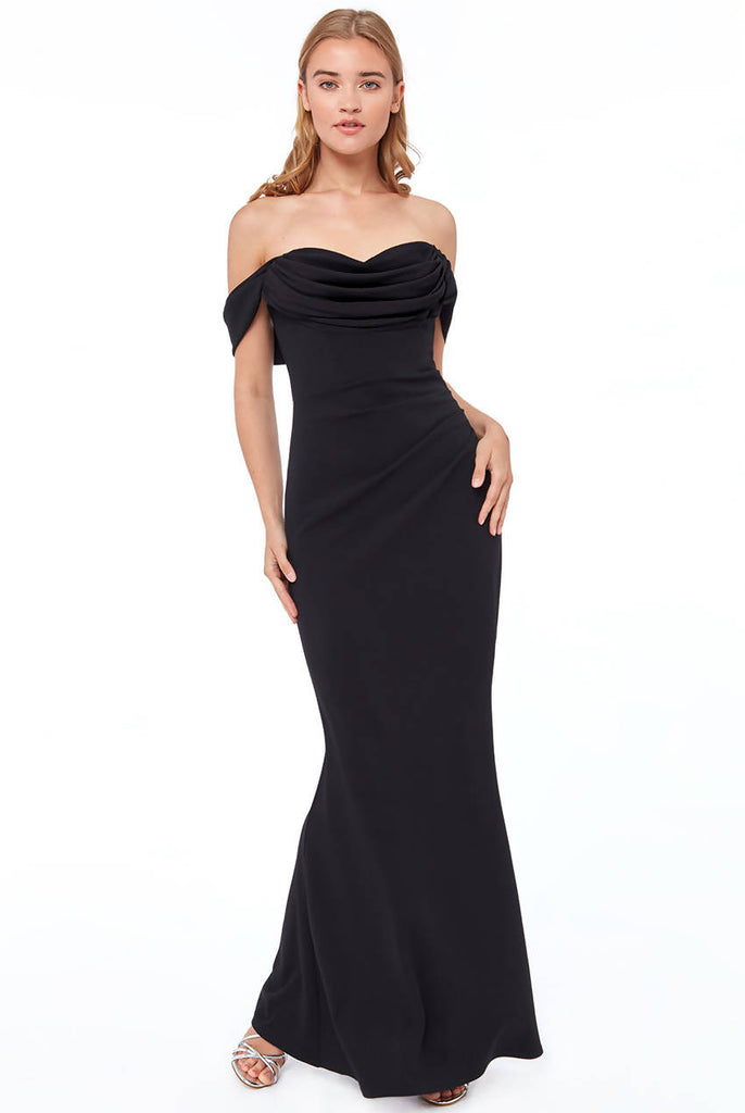 COWL NECK OFF THE SHOULDER MAXI DRESS