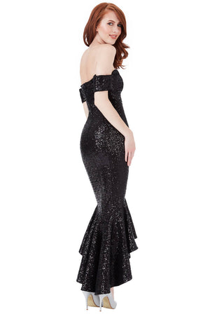 Sequin Bardot Peplum Maxi Dress