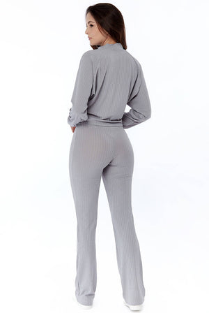 Wide Leg Ribbed Loungewear Set