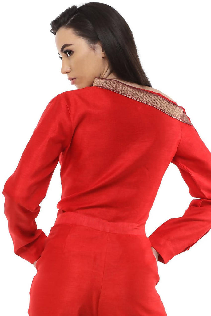 Ladies Long Sleeve Formal Red Brocade Shirt