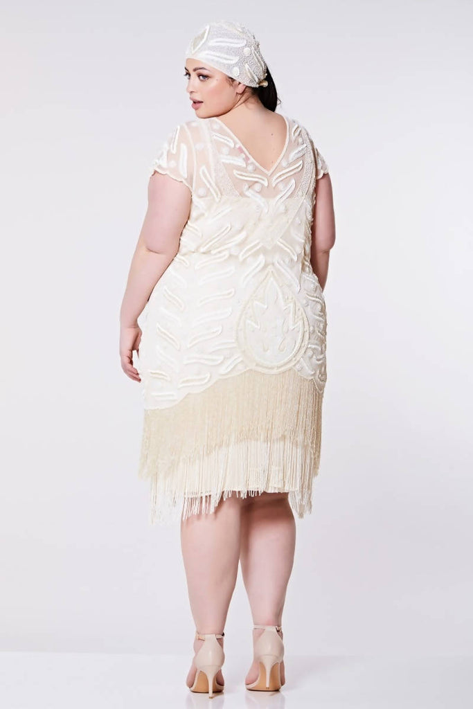 Hand Embellished Vegas Vintage Inspired Fringe Dress - Plus Size