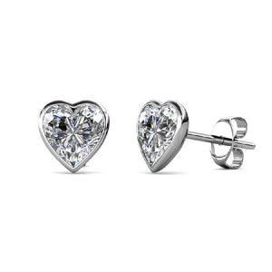 Silver Heart Stud Earrings with Swarovski Crystals