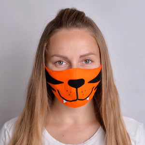 Tiger Face Mask with Filter Pockets - Machine Washable, 100% Cotton