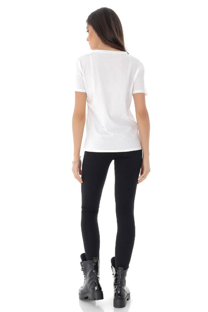 "White ""3 girls"" T-shirt, Aimelia - BR2266"