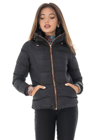 Puffer jacket, black, with high collar, Aimelia - JR460