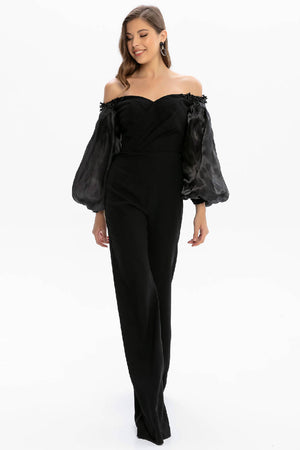 Black Balloon Sleeve Shoulder Open Jumpsuit