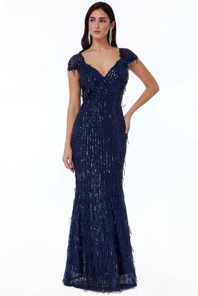 FRONT WRAP HANGING SEQUIN MAXI DRESS