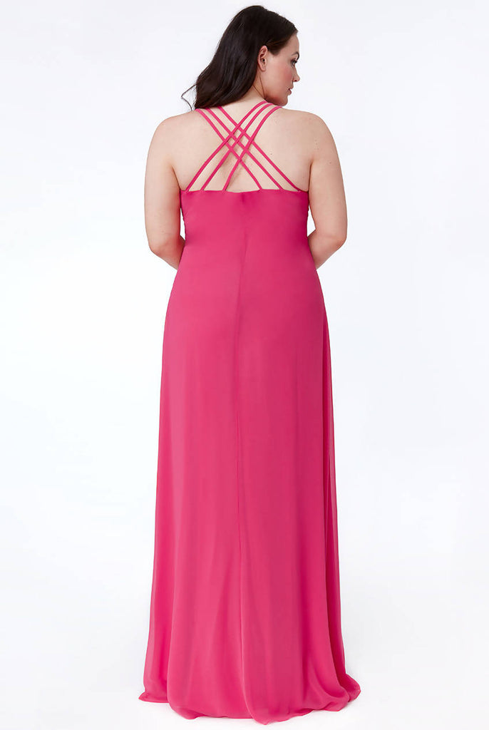 PLUS SIZE CERISE V NECK EMBELLISHED CHIFFON MAXI DRESS