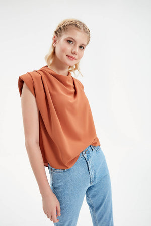 Women Brown Cowl Neck Flowy Short Sleeve Blouse with Padding