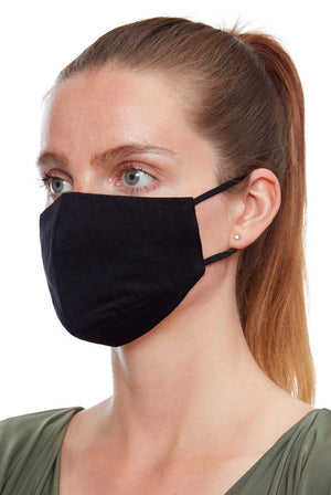 Fitted Fabric Face Mask - Black