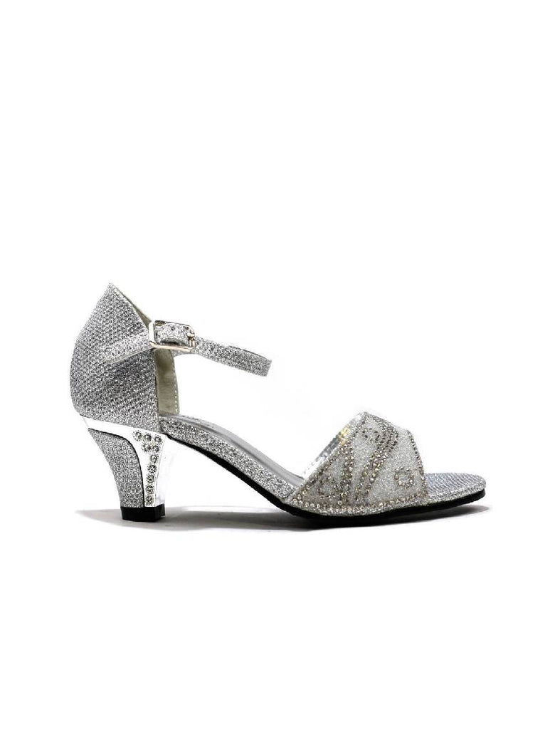 GSA-5520 GIRLS SILVER MID HEEL STONE SANDALS