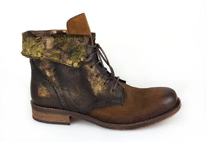 LACED ANKLE BOOTIE - Brown/ Floral