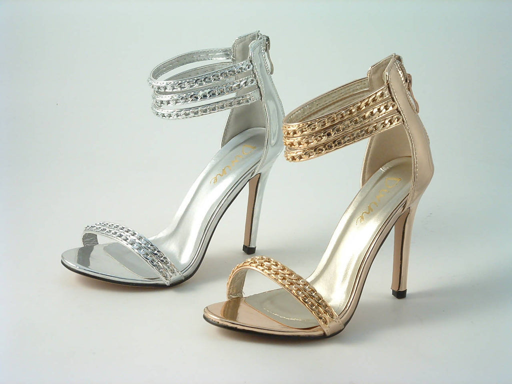 Metallic Chain Barely There Sandal Divine