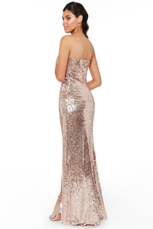 STRAPLESS SEQUINNED SPLIT MAXI DRESS