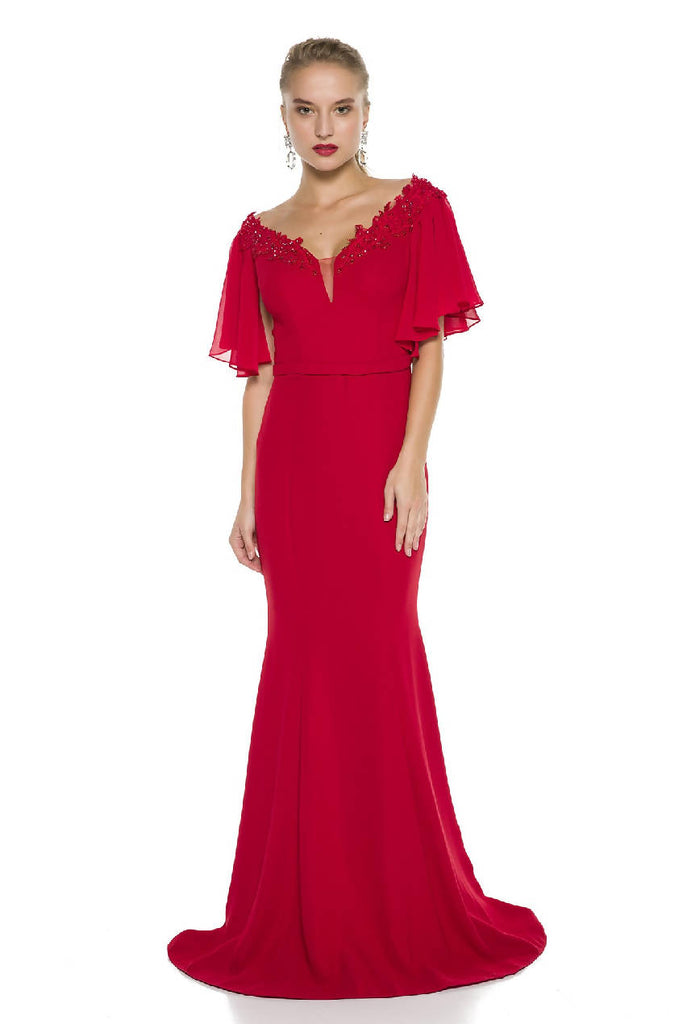 Red Neck Detailed Maxi Dress