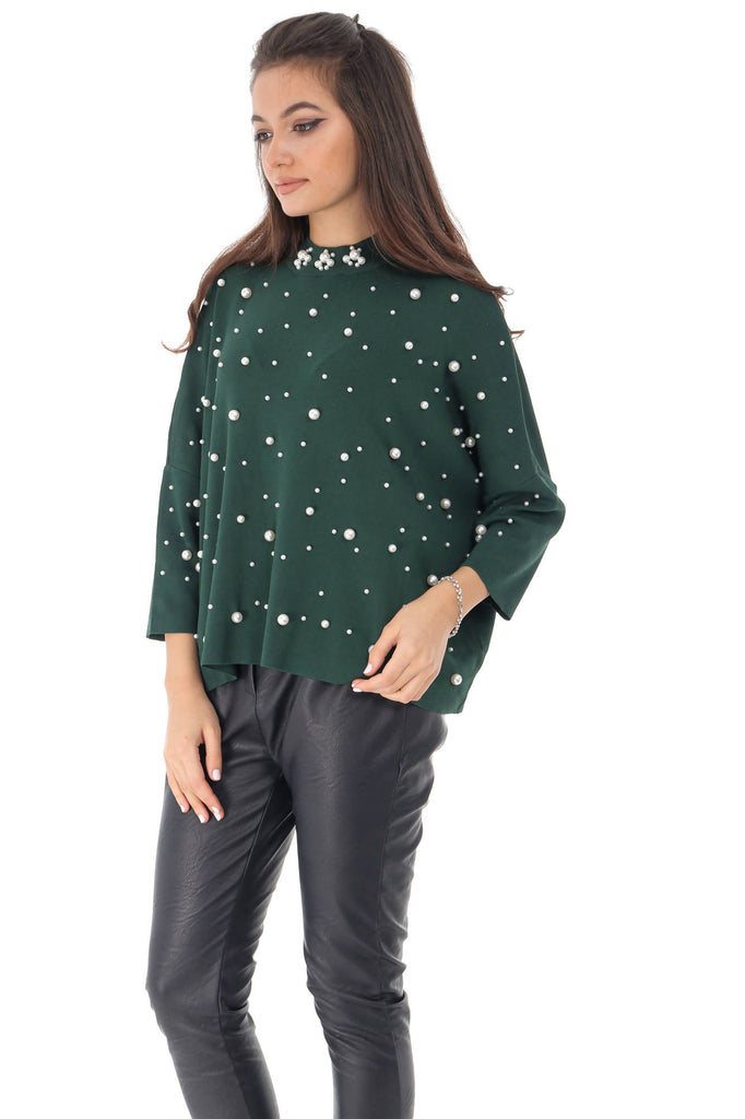 Oversized green top, with pearls, Aimelia - BR2228