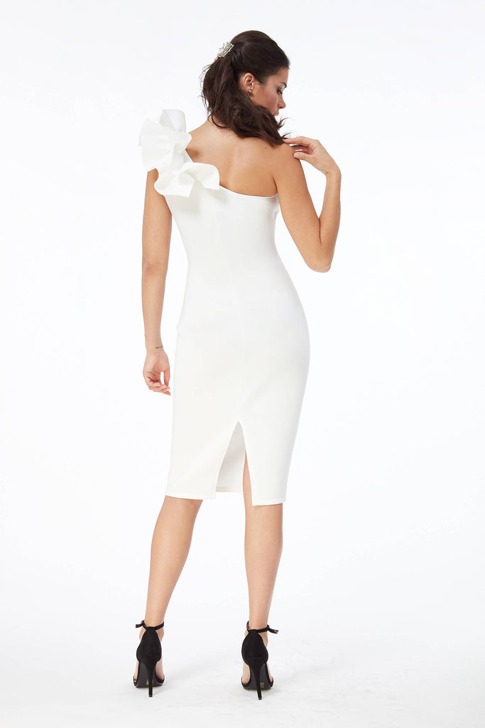 Ivory Frill Shoulder Midi Dress in Bonded Scuba