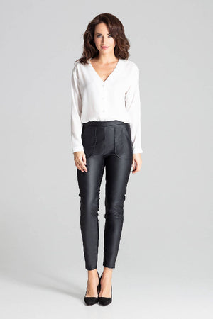 Black Fitted Eco-leather Trousers