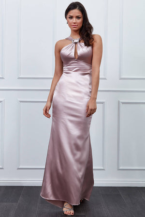 VICKY PATTISON – SATIN HALTER NECK BUCKLE MAXI DRESS