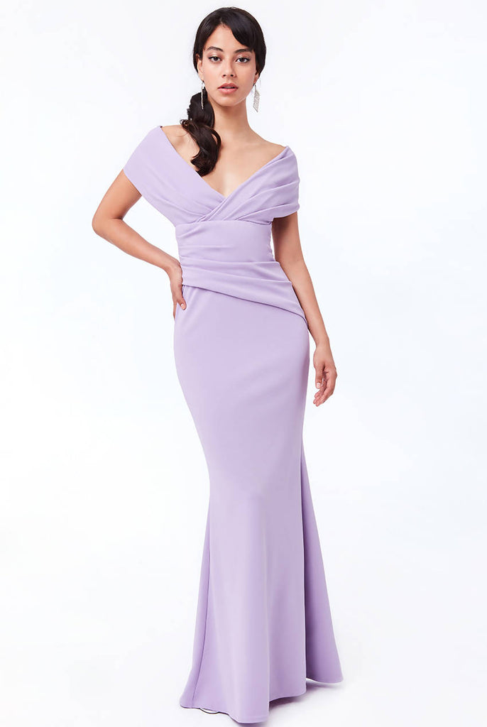 BACK BOW TIE SCUBA CREPE MAXI DRESS